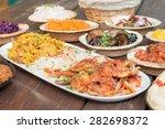 kebap plate. hummus  different...   Shutterstock . vector #282698372