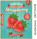 vintage farm fresh strawberry... | Shutterstock .eps vector #282723248