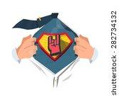 smart man open shirt to show ... | Shutterstock .eps vector #282734132