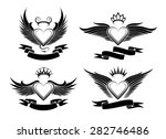 set of winged hearts in tribal...