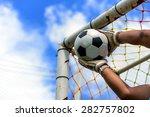 goalkeeper catches the ball | Shutterstock . vector #282757802