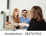 happy young couple meeting with ... | Shutterstock . vector #282767552