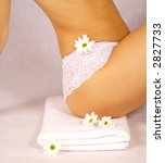 perfect body line - Beautiful woman body part wearing white lace panties - stock photo