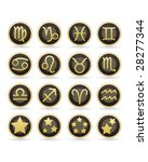 Zodiac astrology brown and gold vector button set - stock vector