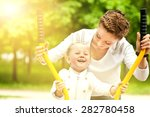 beautiful and cheerful mother... | Shutterstock . vector #282780458