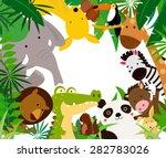 Fun Jungle Animals Border