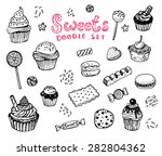 hand drawn sweets doodle... | Shutterstock .eps vector #282804362