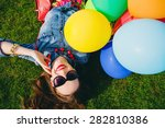 young stylish hipster teen girl ...   Shutterstock . vector #282810386