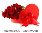 Stock photo heart shaped valentines day gift box with red roses isolated on white 282829298