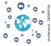world connection with like icon ... | Shutterstock .eps vector #282859106