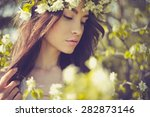 portrait of beautiful romantic... | Shutterstock . vector #282873146