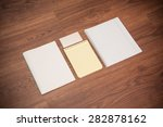 lean notepads and blank on the ... | Shutterstock . vector #282878162