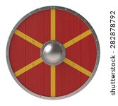 Viking Shield With Red Yellow...