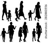 black silhouettes family on... | Shutterstock .eps vector #282883556
