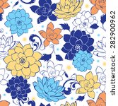 Vector Blue Gold Flowers...