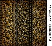 Set Of Vertical Golden Lace...