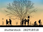 children silhouette in nature . | Shutterstock .eps vector #282918518