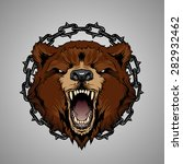 color bear head with chains | Shutterstock .eps vector #282932462