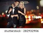 elegant fashion couple over... | Shutterstock . vector #282932906