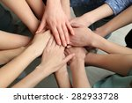 group of female hands together  ... | Shutterstock . vector #282933728