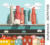 vector city   houses with... | Shutterstock .eps vector #282947438