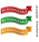Microwaveable banners for food product packaging, print materials, and websites - stock vector