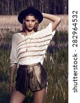 fashion outdoor photo of...   Shutterstock . vector #282964532