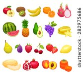 collection of fruits flat icons ... | Shutterstock .eps vector #282975686