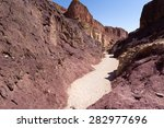Dry Red Riverbed Canyon Gorge...