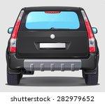 Vector Black Car   Rear View