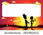 wedding silhouette in sunset  ... | Shutterstock .eps vector #282982412