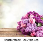 Violet Lilac Flowers With Pink...