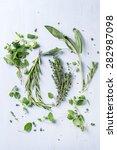 assortment of fresh herbs thyme ...   Shutterstock . vector #282987098
