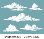 Vintage Engraved Clouds. Vecto...