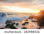 Sunset Seascape With Rocky...