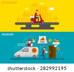 fast food and pizza delivery by ... | Shutterstock .eps vector #282992195