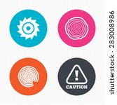 circle buttons. wood and saw... | Shutterstock .eps vector #283008986