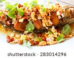 deep fried fish with herb and... | Shutterstock . vector #283014296