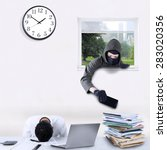 male robber with mask  stealing ... | Shutterstock . vector #283020356