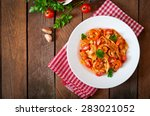 fettuccine pasta with shrimp ... | Shutterstock . vector #283021052