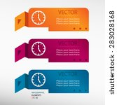 watch on origami paper banners. ... | Shutterstock .eps vector #283028168