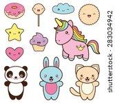 set collection of cute kawaii... | Shutterstock .eps vector #283034942