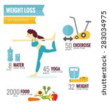weight loss infographics. flat... | Shutterstock .eps vector #283034975