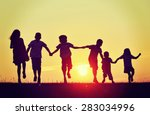 happy children silhouettes on... | Shutterstock . vector #283034996