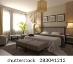 Stock photo  d render of design of a bathroom in brown and beige color 283041212