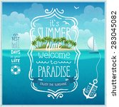 summer time poster with... | Shutterstock .eps vector #283045082