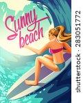 vector poster sunny beach... | Shutterstock .eps vector #283051772
