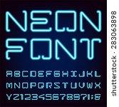 neon blue light alphabet vector ...   Shutterstock .eps vector #283063898