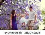 young beautiful mother and her... | Shutterstock . vector #283076036