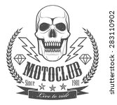emblem with skull motorcycle... | Shutterstock .eps vector #283110902